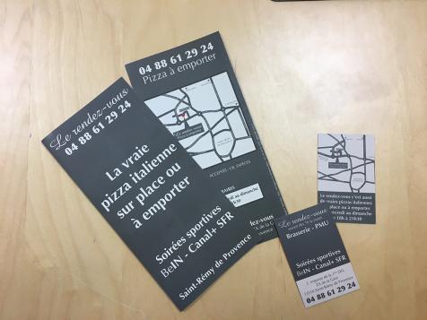 Dépliants et cartes de visite Brasserie Le Rendez-Vous à Saint-Rémy de Provence